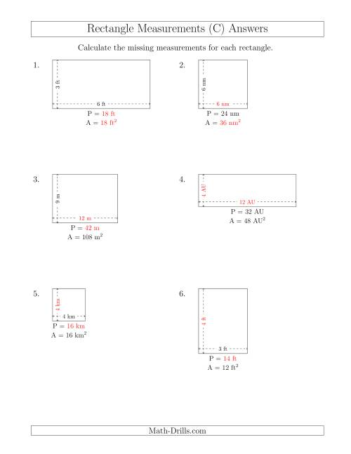 The Calculating Various Rectangle Measurements (Smaller Whole Numbers) (C) Math Worksheet Page 2