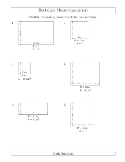 The Calculating Various Rectangle Measurements (Smaller Whole Numbers) (All) Math Worksheet