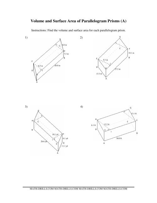 The Volume and Surface Area of Parallelogram Prisms (A) Math Worksheet