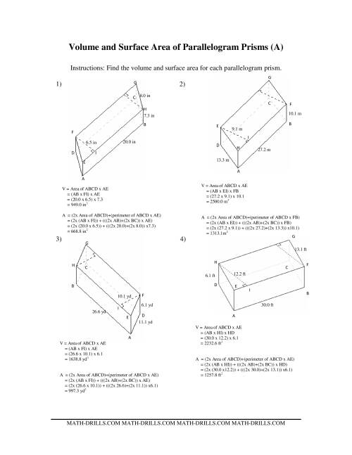 The Volume and Surface Area of Parallelogram Prisms (A) Math Worksheet Page 2