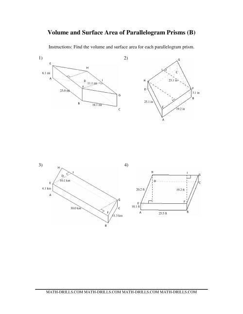 The Volume and Surface Area of Parallelogram Prisms (B) Math Worksheet
