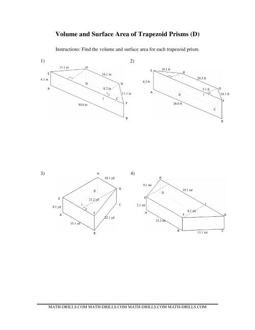 The Volume and Surface Area of Trapezoid Prisms (D) Math Worksheet