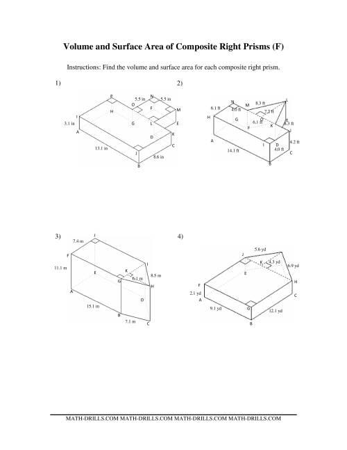 volume and surface area of composite based prisms f. Black Bedroom Furniture Sets. Home Design Ideas