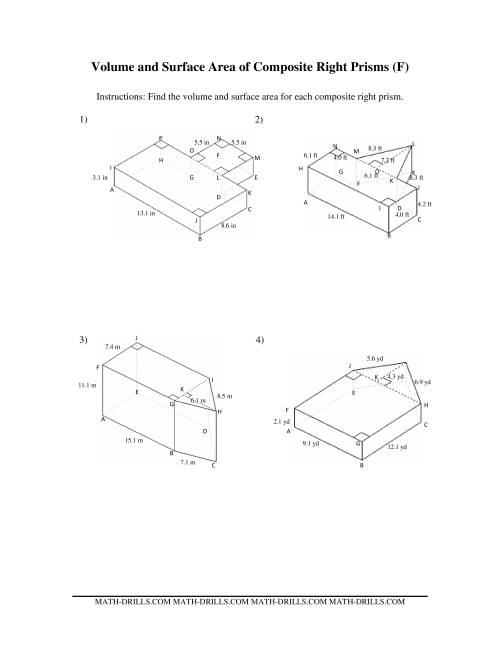 The Volume and Surface Area of Composite-Based Prisms (F) Math Worksheet
