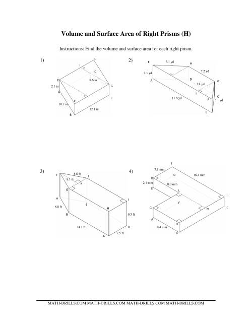 The Volume and Surface Area of Mixed Right Prisms (H) Math Worksheet