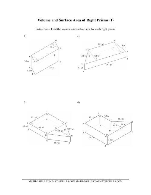 Volume and Surface Area of Mixed Right Prisms (I)