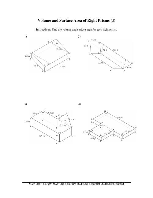 The Volume and Surface Area of Mixed Right Prisms (J) Math Worksheet