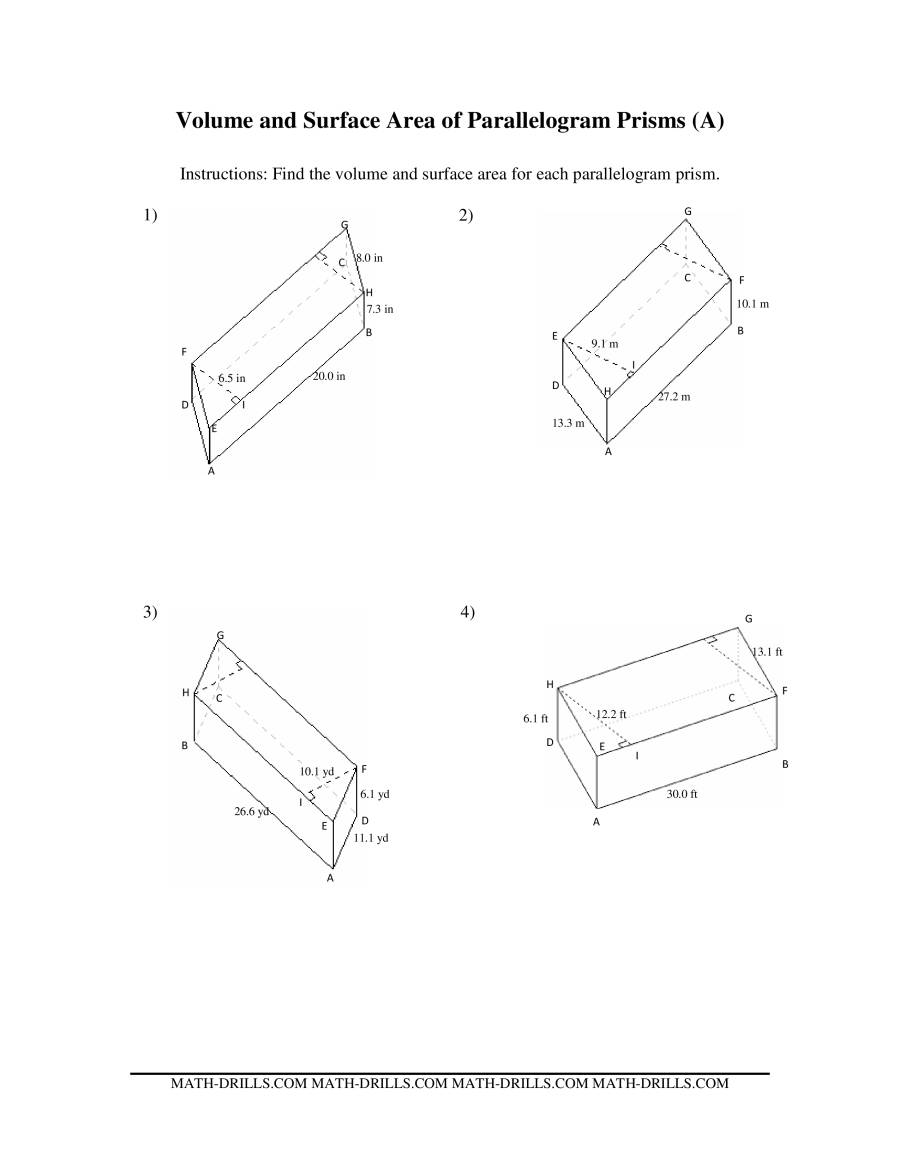volume and surface area of parallelogram prisms. Black Bedroom Furniture Sets. Home Design Ideas