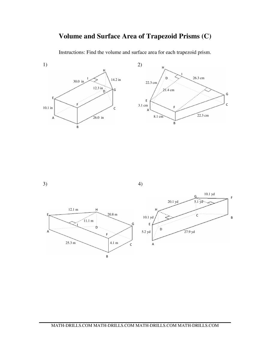 Volume and Surface Area of Trapezoid Prisms – Volume of Prism Worksheet