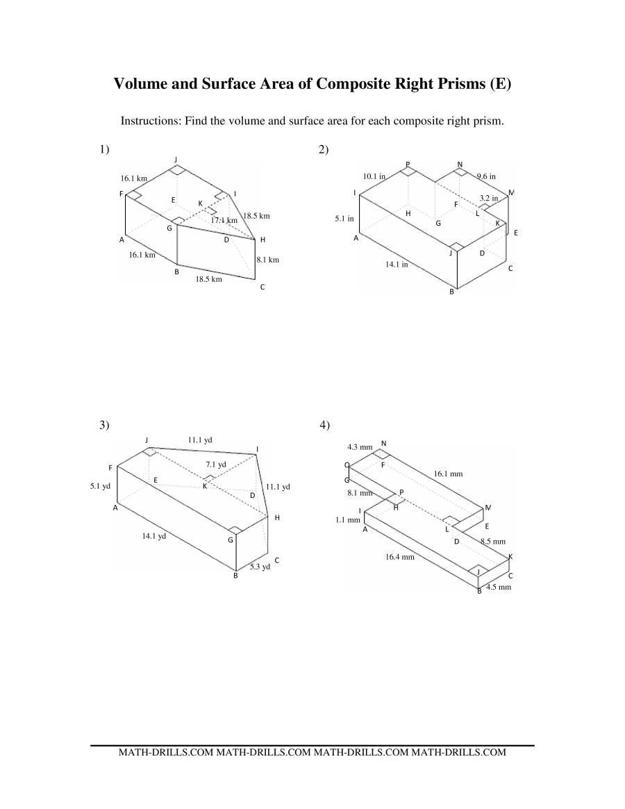 Volume and Surface Area of CompositeBased Prisms – Area of Composite Figures Worksheets