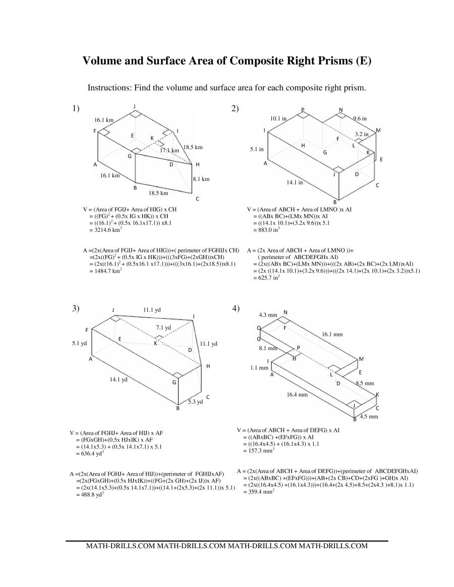 Volume And Surface Area Of Composite Based Prisms