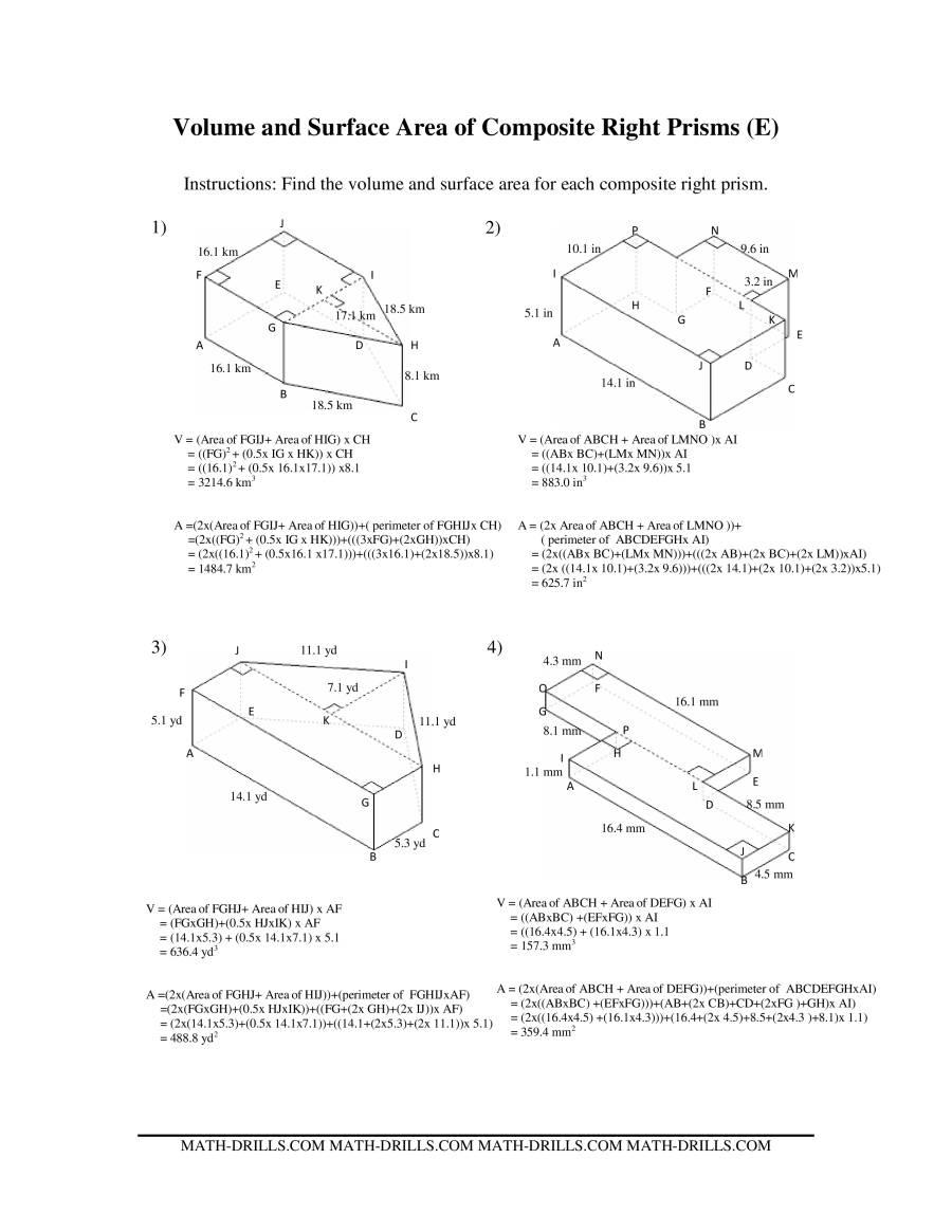volume and surface area of composite based prisms. Black Bedroom Furniture Sets. Home Design Ideas