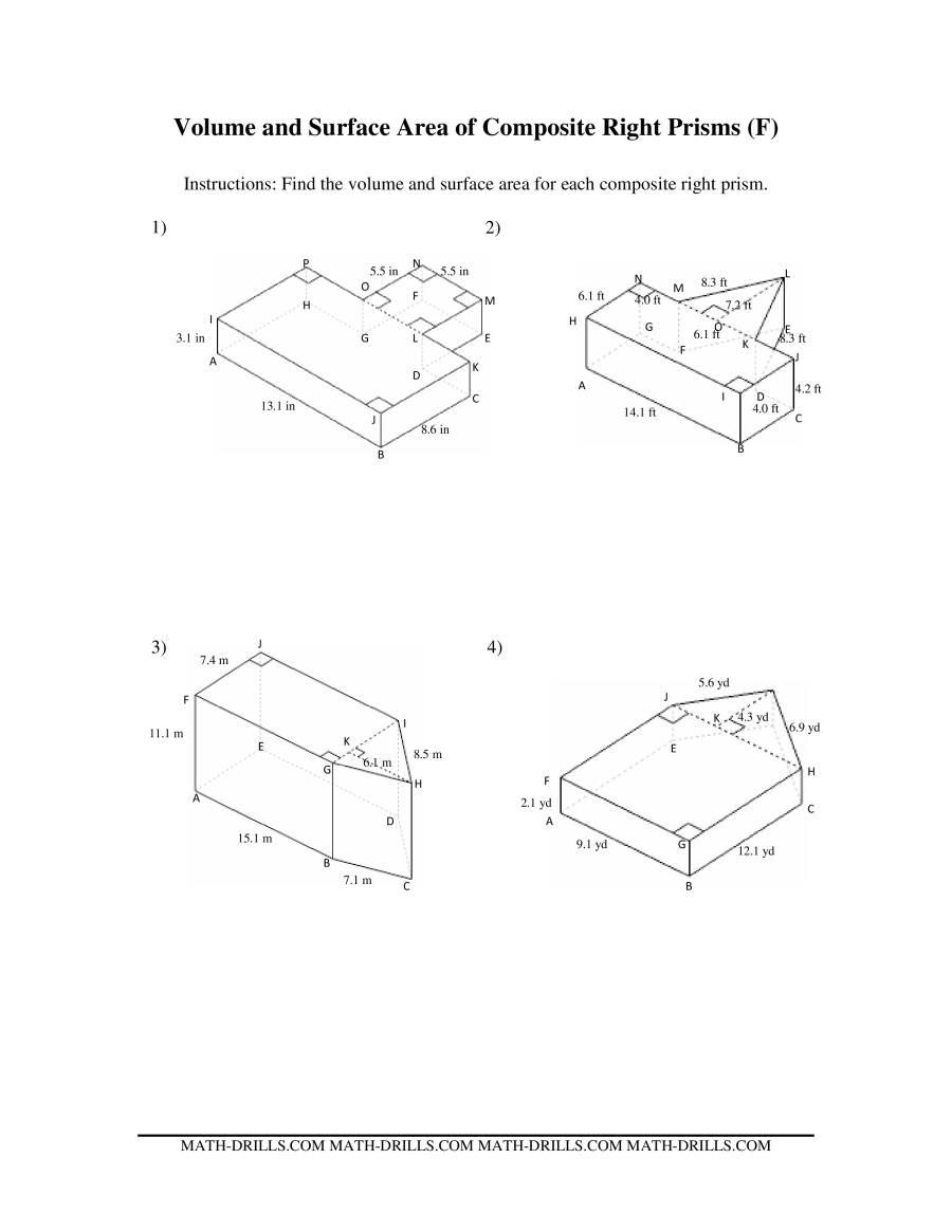 worksheet Composite Area Worksheet volume and surface area of composite based prisms the math worksheet