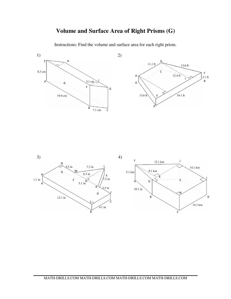 The Volume and Surface Area of Mixed Right Prisms (G) Math Worksheet
