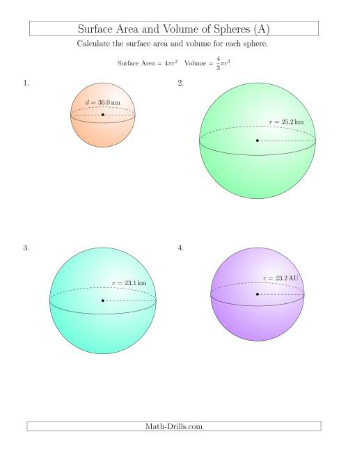 Volume And Surface Area Of Spheres  One Decimal Place   A