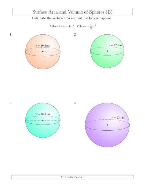 The Volume and Surface Area of Spheres (One Decimal Place) (B) Math Worksheet