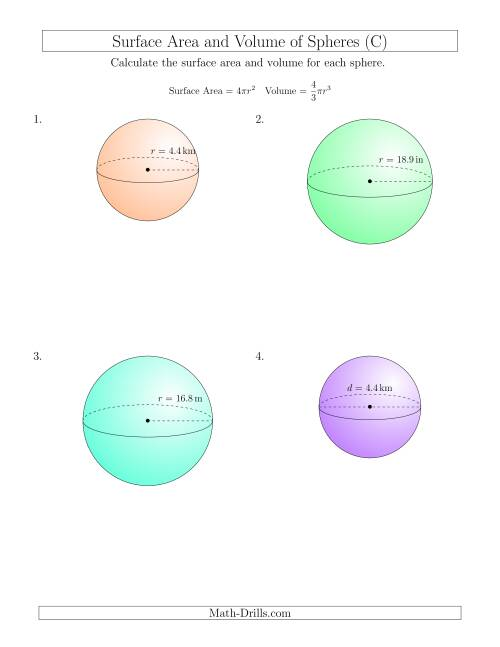 The Volume and Surface Area of Spheres (One Decimal Place) (C) Math Worksheet