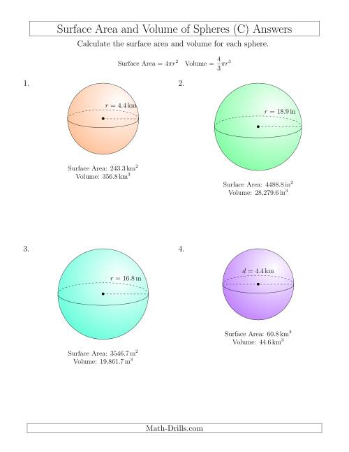 The Volume and Surface Area of Spheres (One Decimal Place) (C) Math Worksheet Page 2
