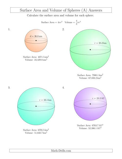 The Volume and Surface Area of Spheres (One Decimal Place) (All) Math Worksheet Page 2