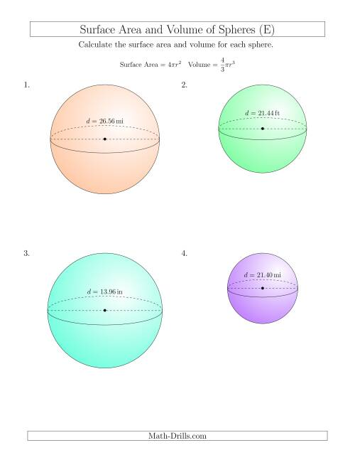 The Volume and Surface Area of Spheres (Two Decimal Places) (E) Math Worksheet