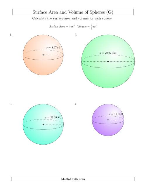 The Volume and Surface Area of Spheres (Two Decimal Places) (G) Math Worksheet