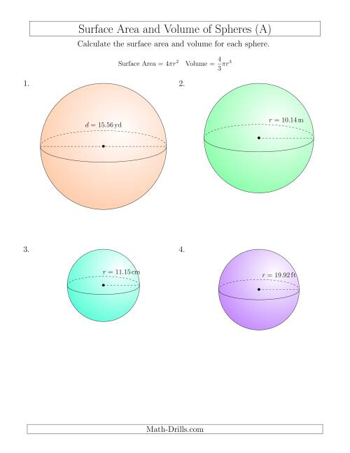 The Volume and Surface Area of Spheres (Two Decimal Places) (All) Math Worksheet