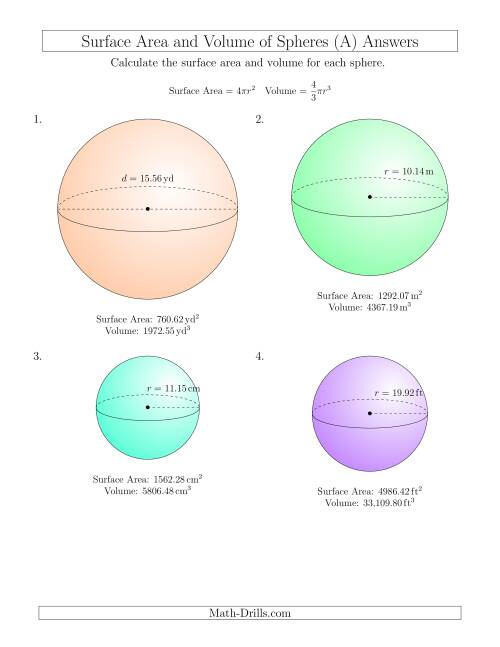 The Volume and Surface Area of Spheres (Two Decimal Places) (All) Math Worksheet Page 2