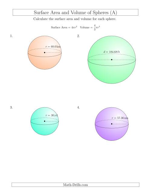 The Volume and Surface Area of Spheres (Large Input Values) (A) Math Worksheet