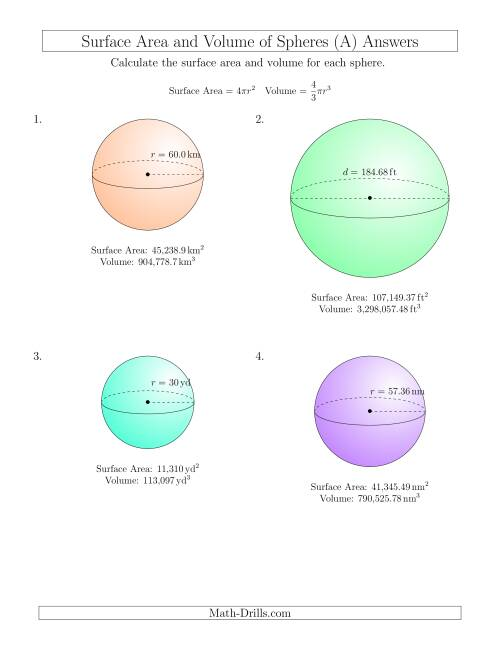 The Volume and Surface Area of Spheres (Large Input Values) (A) Math Worksheet Page 2