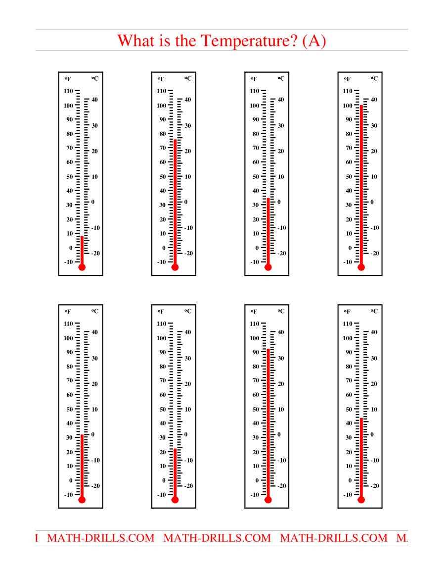 The Reading Temperatures on a Thermometer (A) Measurement Worksheet