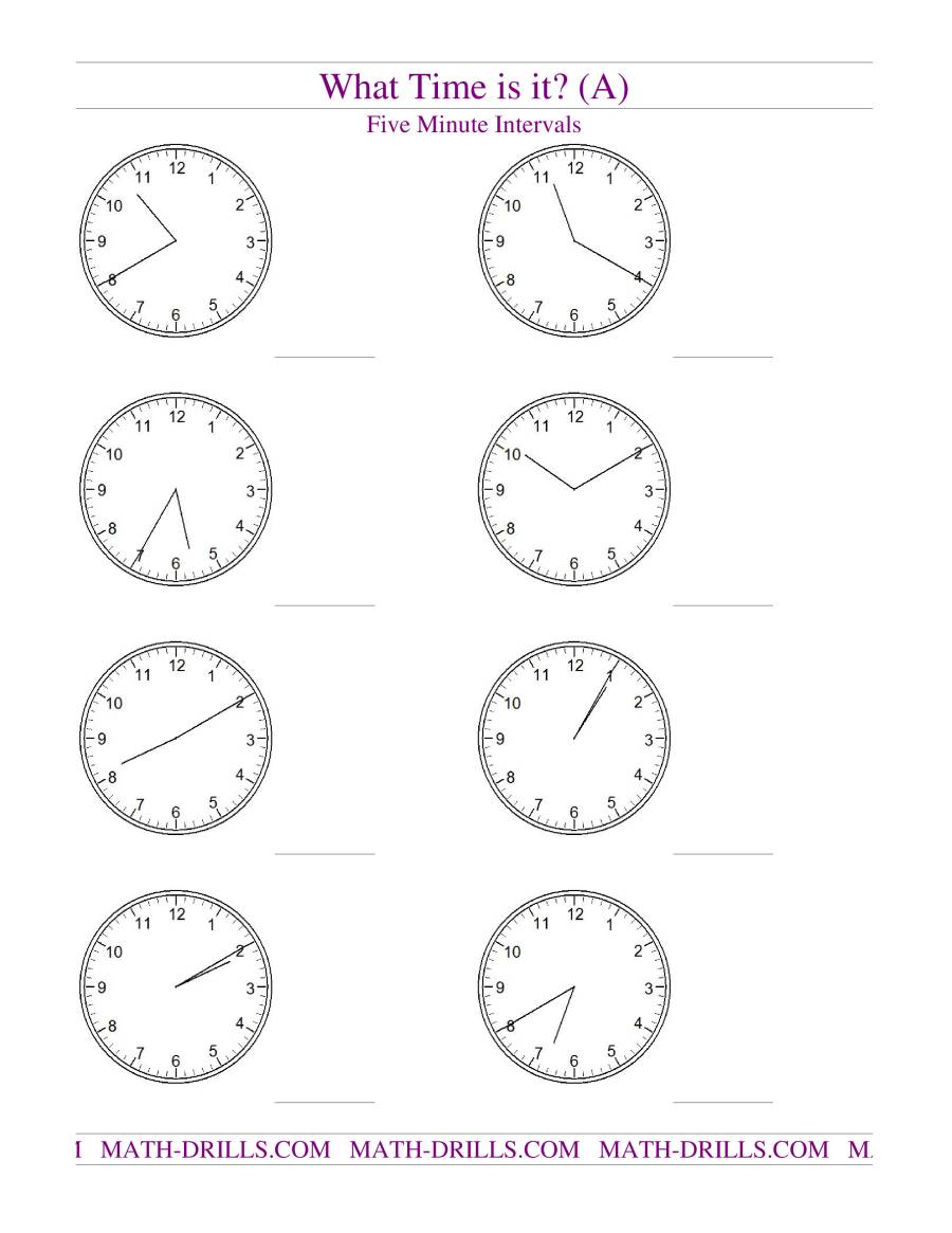 Telling Time on Analog Clocks -- Five Minute Intervals (A)