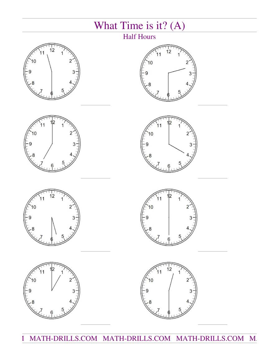 Worksheets Time To The Half Hour Worksheets telling time on analog clocks half hour intervals a the math worksheet