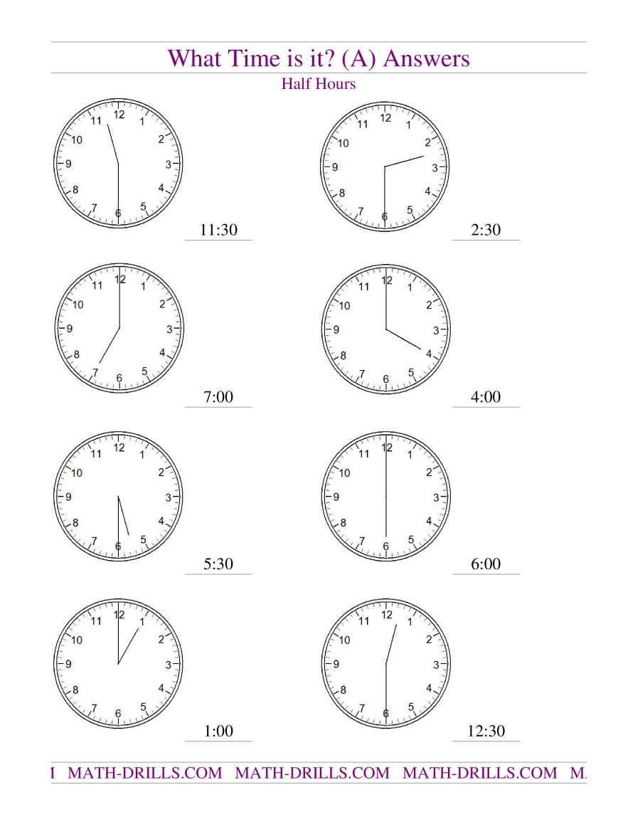 Telling Time On Analog Clocks Half Hour Intervals A