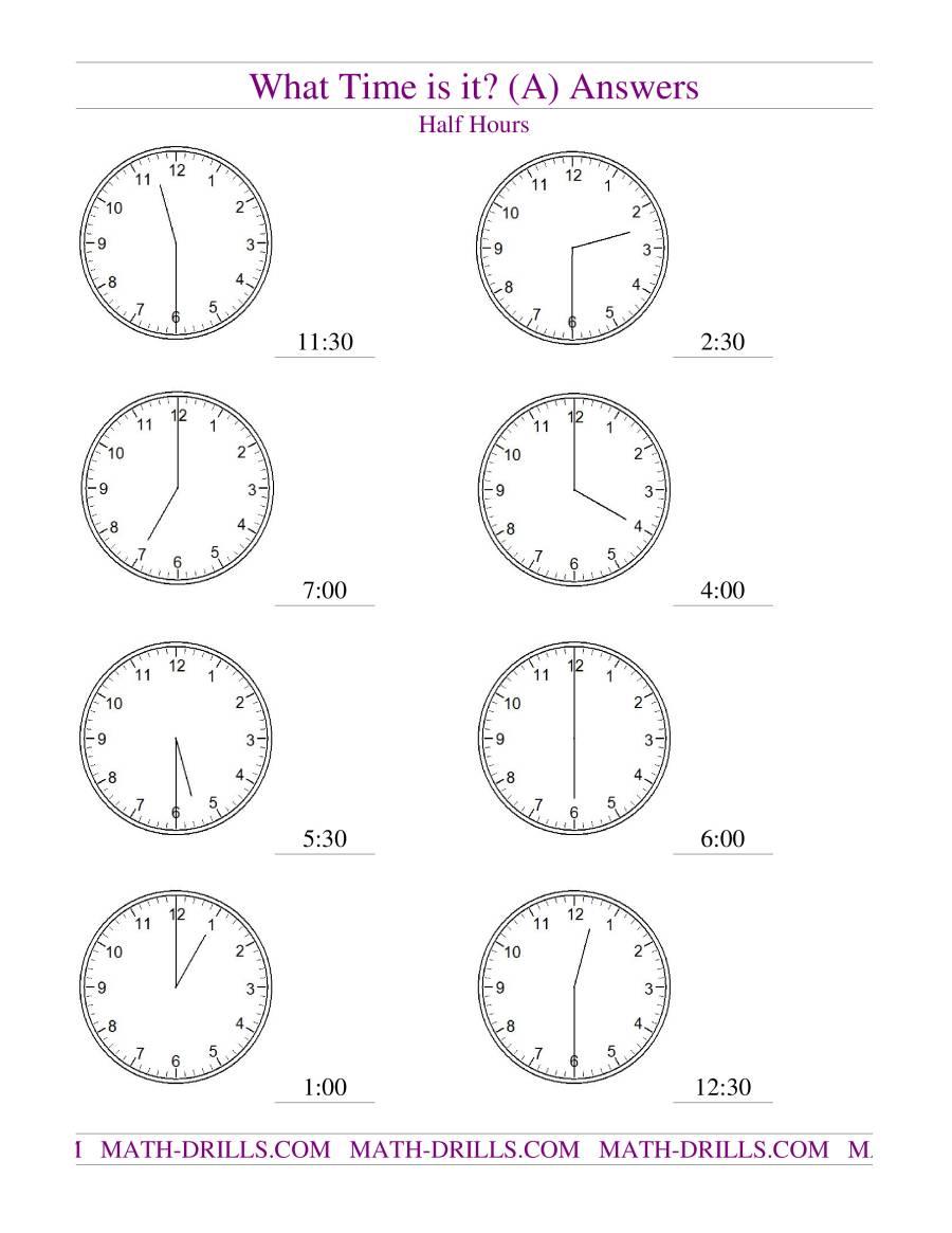 telling time on analog clocks half hour intervals a. Black Bedroom Furniture Sets. Home Design Ideas