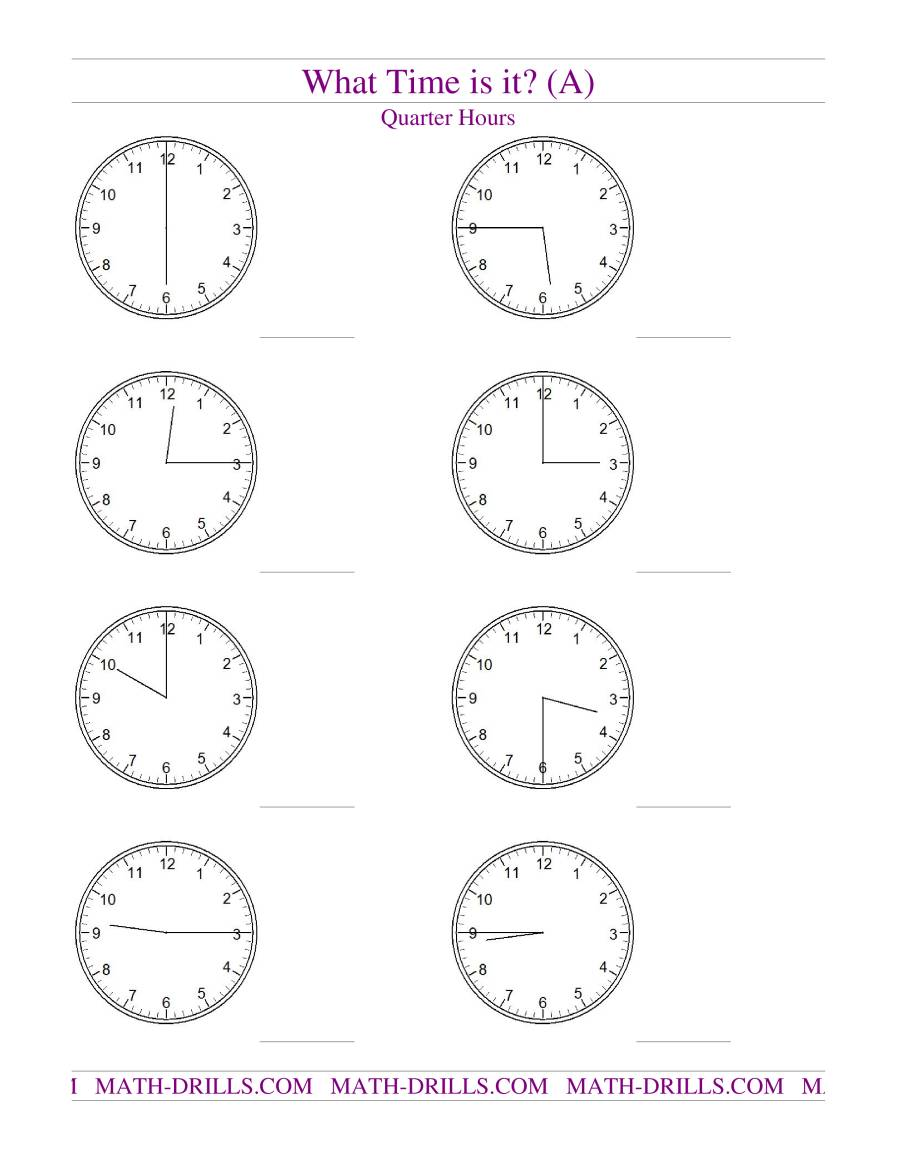 Telling Time on Analog Clocks -- Quarter Hour Intervals (A)