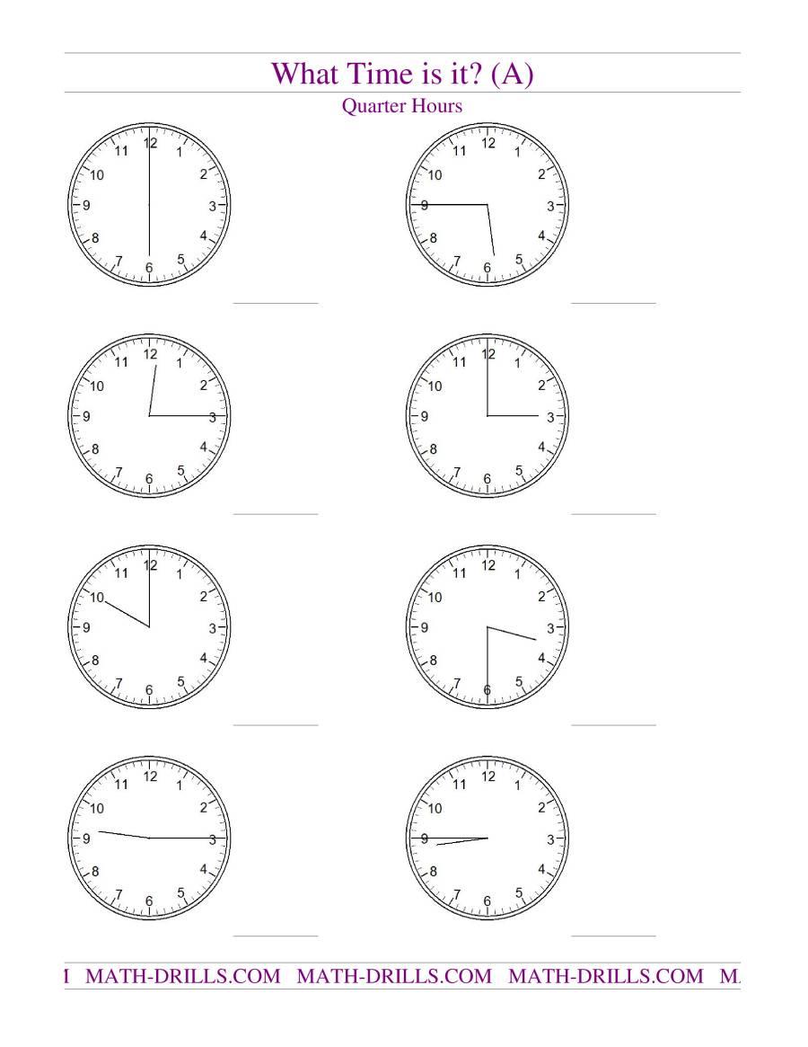 telling time on analog clocks quarter hour intervals a measurement worksheet. Black Bedroom Furniture Sets. Home Design Ideas
