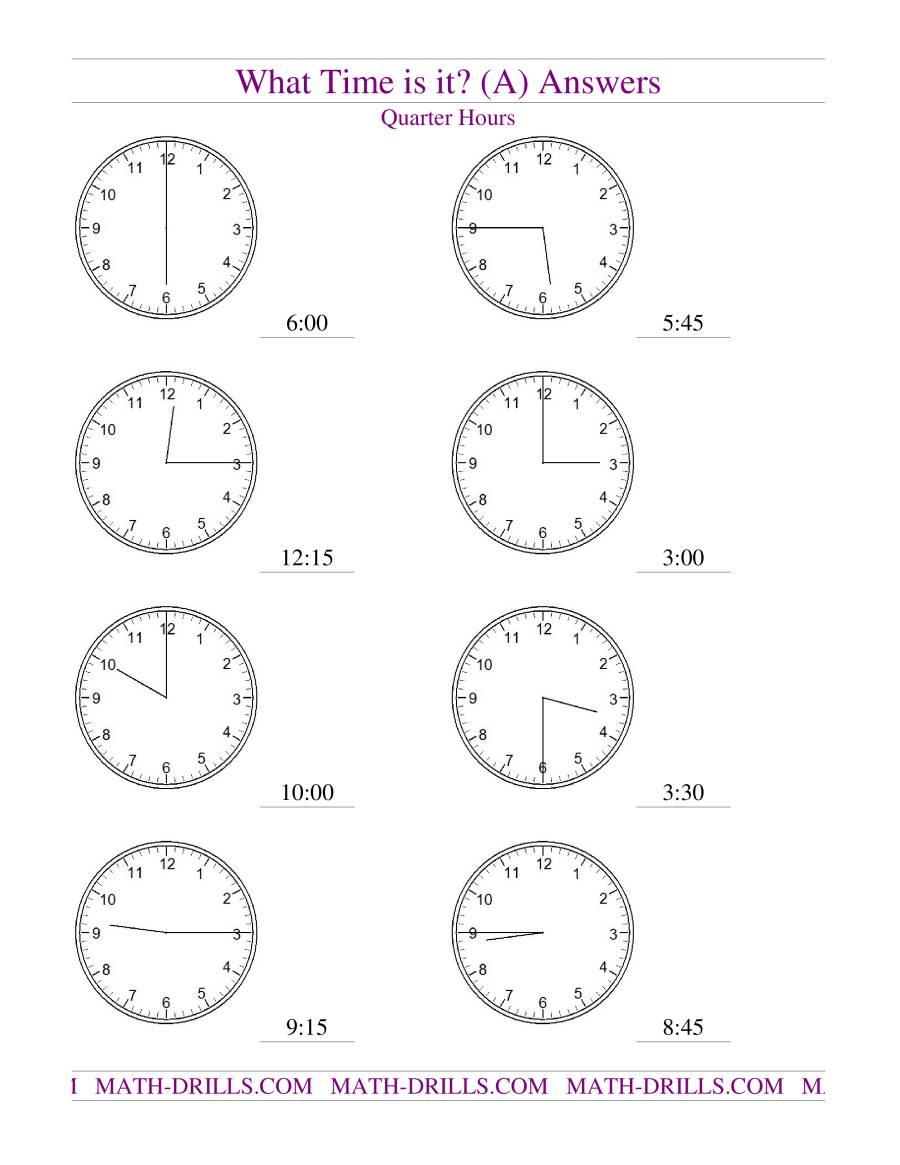 telling time on analog clocks quarter hour intervals a. Black Bedroom Furniture Sets. Home Design Ideas