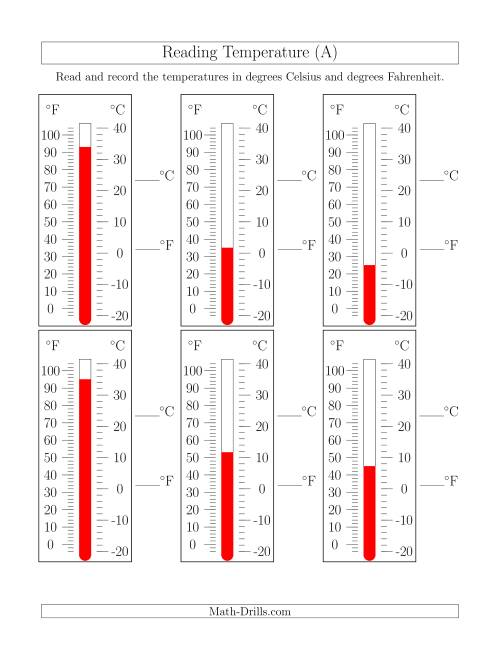 The Reading Temperatures from Thermometers (A) Math Worksheet