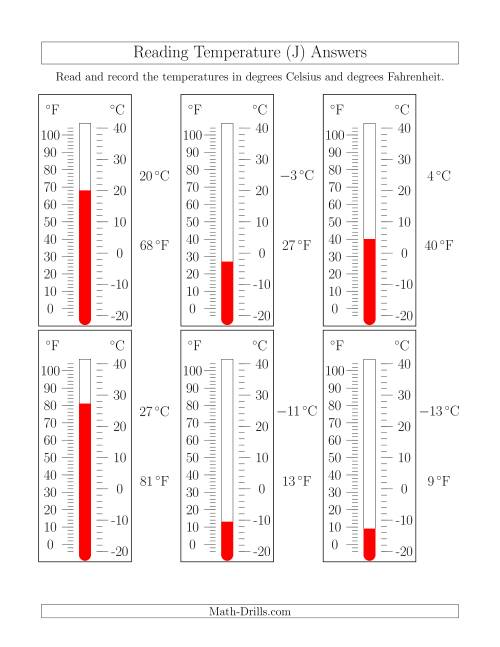 The Reading Temperatures from Thermometers (J) Math Worksheet Page 2
