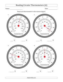 Reading Temperatures from Circular Thermometers (Celsius Dominant)