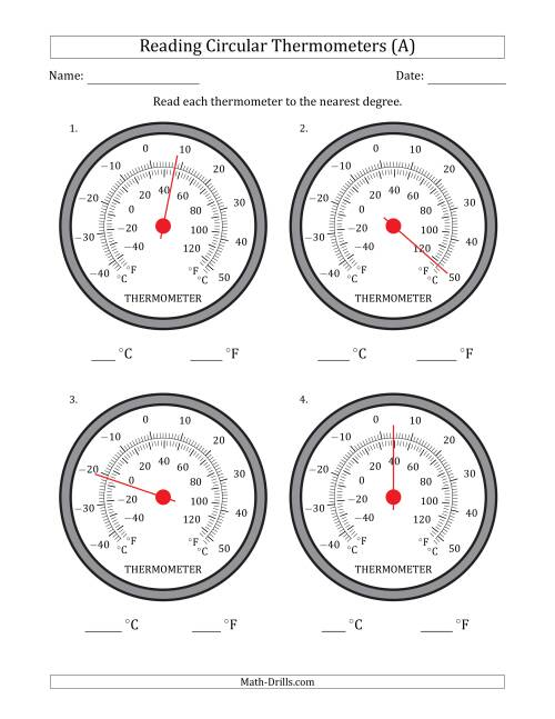 The Reading Temperatures from Circular Thermometers (Celsius Dominant) (A) Math Worksheet