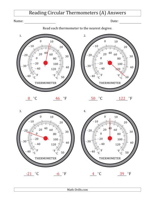 The Reading Temperatures from Circular Thermometers (Celsius Dominant) (A) Math Worksheet Page 2