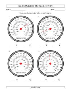 Reading Temperatures from Circular Thermometers (Fahrenheit Dominant)