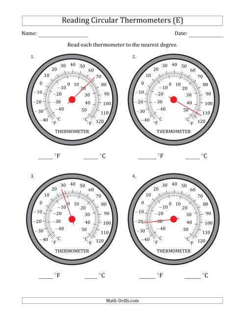 The Reading Temperatures from Circular Thermometers (Fahrenheit Dominant) (E) Math Worksheet