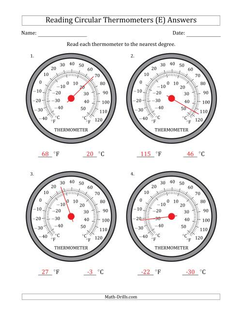 The Reading Temperatures from Circular Thermometers (Fahrenheit Dominant) (E) Math Worksheet Page 2