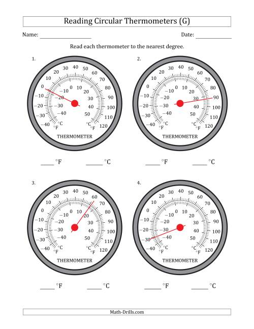 The Reading Temperatures from Circular Thermometers (Fahrenheit Dominant) (G) Math Worksheet
