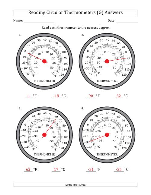 The Reading Temperatures from Circular Thermometers (Fahrenheit Dominant) (G) Math Worksheet Page 2
