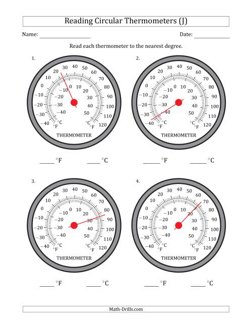 The Reading Temperatures from Circular Thermometers (Fahrenheit Dominant) (J) Math Worksheet