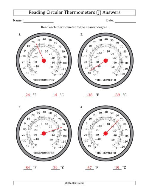 The Reading Temperatures from Circular Thermometers (Fahrenheit Dominant) (J) Math Worksheet Page 2