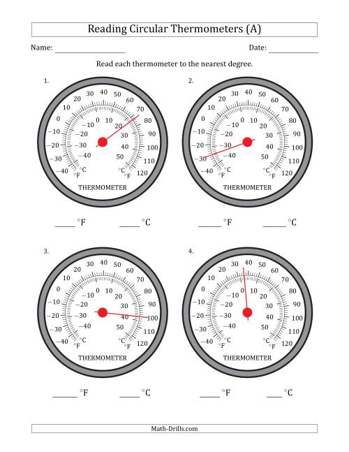 The Reading Temperatures from Circular Thermometers (Fahrenheit Dominant) (All) Math Worksheet